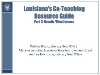 Louisiana s Co-Teaching Resource Guide  Part  3- Results