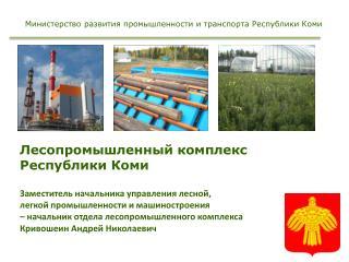 Лесопромышленный комплекс Республики Коми Заместитель начальника управления лесной,