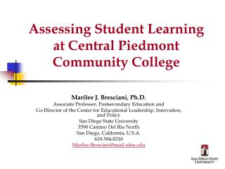 Assessing Student Learning at Central Piedmont Community College