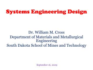Systems Engineering Design