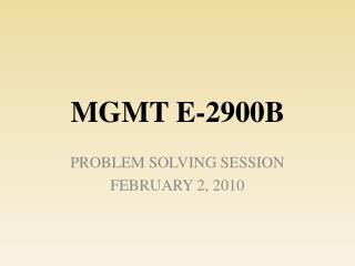 MGMT E-2900B