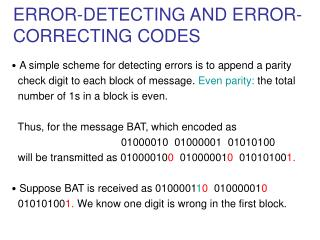 ERROR-DETECTING AND ERROR-     CORRECTING CODES