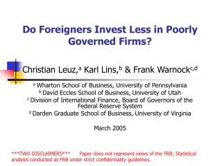Do Foreigners Invest Less in Poorly Governed Firms