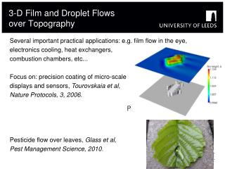 3-D Film and Droplet Flows over Topography