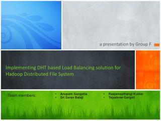 Implementing DHT  based  Load Balancing solution for  Hadoop  Distributed File System