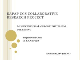 KAPAP CGS COLLABORATIVE RESEARCH PROJECT