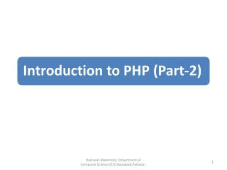 Setting the environment Overview of PHP Constants and Variables in PHP