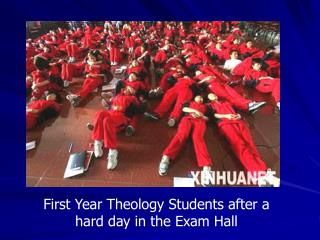 First Year Theology Students after a hard day in the Exam Hall