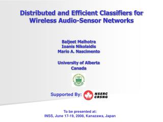 Distributed and Efficient Classifiers for  Wireless Audio-Sensor Networks