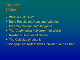 Chapter 9 Calculus