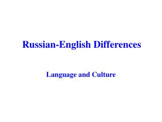 Russian-English Differences