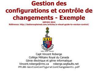 Capt  Vincent Roberge Collège Militaire Royal du Canada Génie électrique et génie informatique