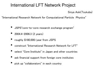 International LFT Network Project