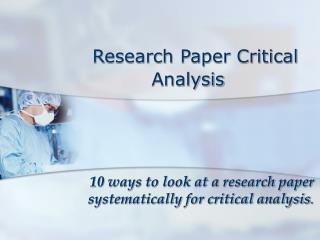 Research Paper Critical    Analysis