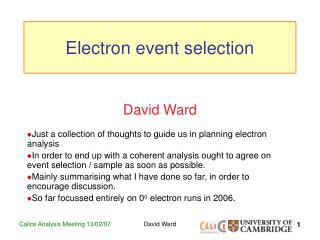 Electron event selection
