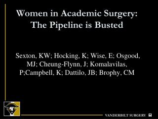 Women in Academic Surgery:  The Pipeline is Busted