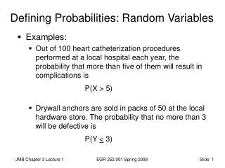 Defining Probabilities: Random Variables
