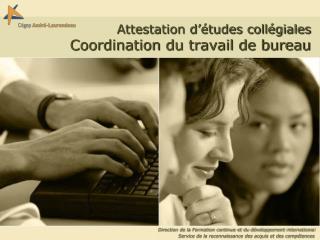 Attestation d  tudes coll giales   Coordination du travail de bureau
