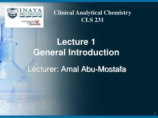 Lecture  1 General Introduction