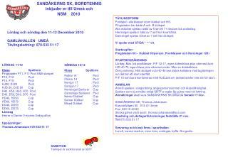 SANDÅKERNS SK, BORDTENNIS inbjuder er till Umeå och NSM    2010