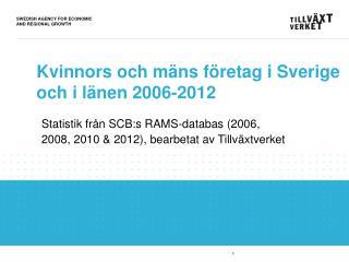 Kvinnors och mäns företag i Sverige och i länen 2006-2012