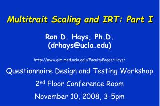Multitrait Scaling and IRT: Part I