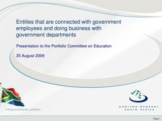 Presentation to the Portfolio Committee on Education 25 August 2009