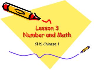 Lesson 3 Number and Math