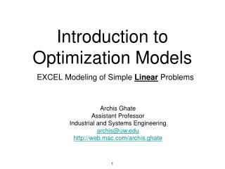 Introduction to Optimization Models