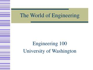 The World of Engineering