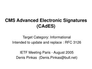 CMS Advanced Electronic Signatures (CAdES)