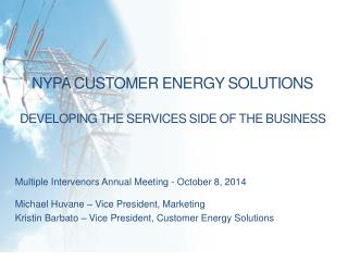 NYPA Customer ENERGY  SOLUTIONS Developing the services side of the business