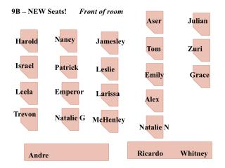 9B – NEW Seats! Front of room