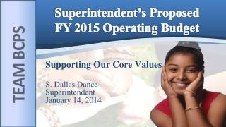 Superintendent' s Proposed  FY 2015 Operating Budget