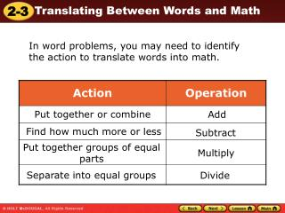 In word problems, you may need to identify the action to translate words into math.