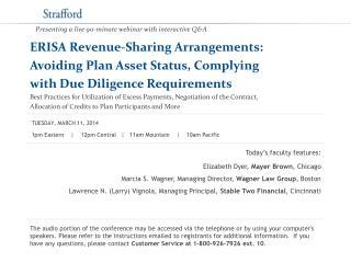 ERISA Revenue-Sharing Arrangements:  Avoiding Plan Asset Status, Complying