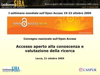 I settimana mondiale sull'Open Access 19-23 ottobre 2009