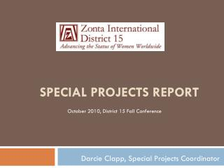 Special projects report