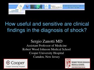 How useful and sensitive are clinical findings in the diagnosis of shock?