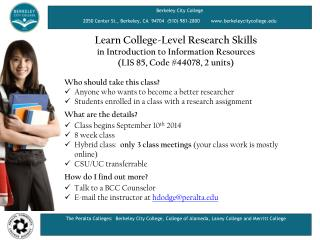 Learn College-Level Research Skills  in Introduction to Information Resources