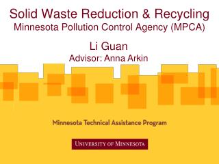 Solid Waste Reduction & Recycling Minnesota Pollution Control Agency (MPCA)