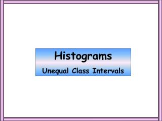 Histograms Unequal Class Intervals