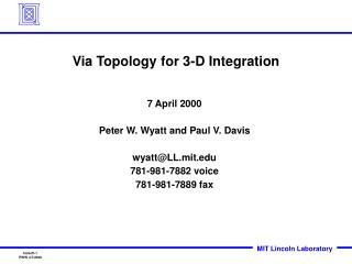 Via Topology for 3-D Integration
