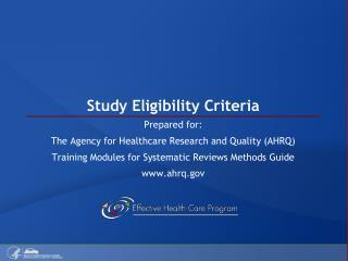 Study Eligibility Criteria