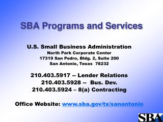 SBA Programs and Services