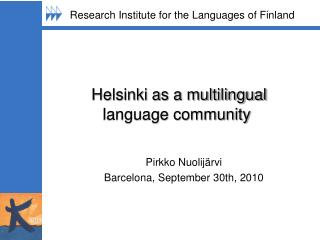 Helsinki as a multilingual language community