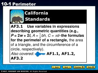 AF3.1    Use variables in expressions describing geometric quantities (e.g.,