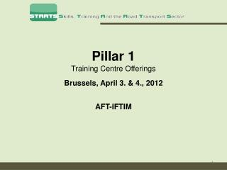Pillar 1 Training Centre Offerings Brussels, April 3. & 4., 2012 AFT-IFTIM