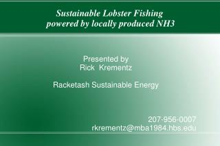 Sustainable Lobster Fishing  powered by locally produced NH3