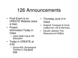 126 Announcements